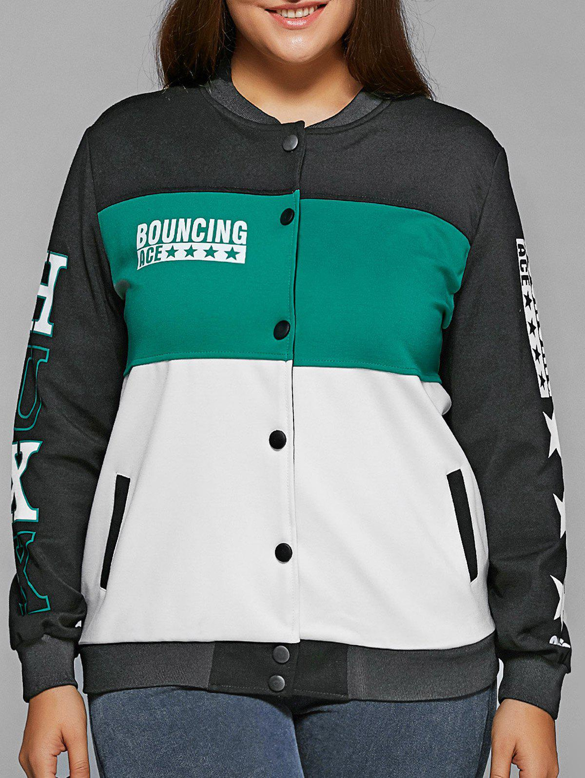 Single-Breasted Color Block Jacket - TIFFANY BLUE 2XL