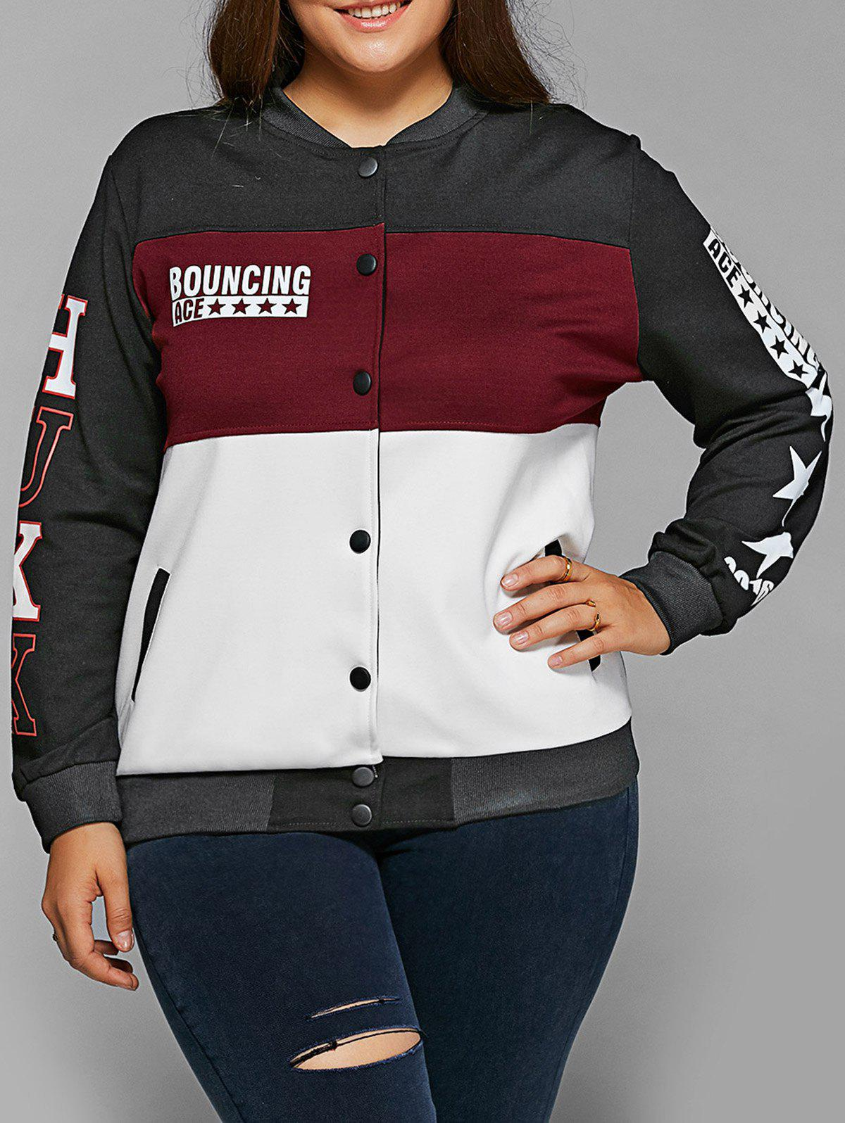 Single-Breasted Color Block Jacket - WINE RED XL