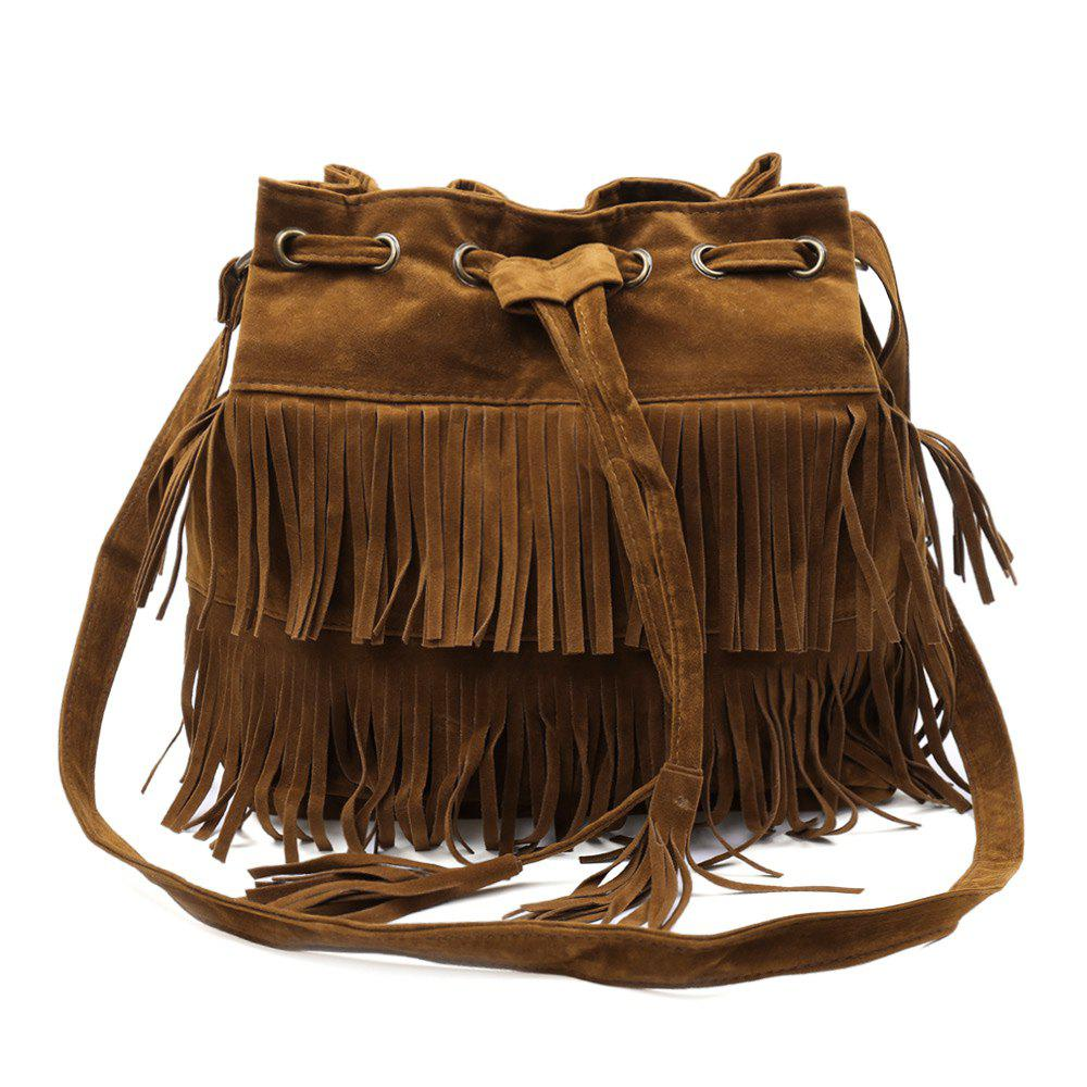 Pretty Tassels and Suede Design Crossbody Bag For Women - BROWN