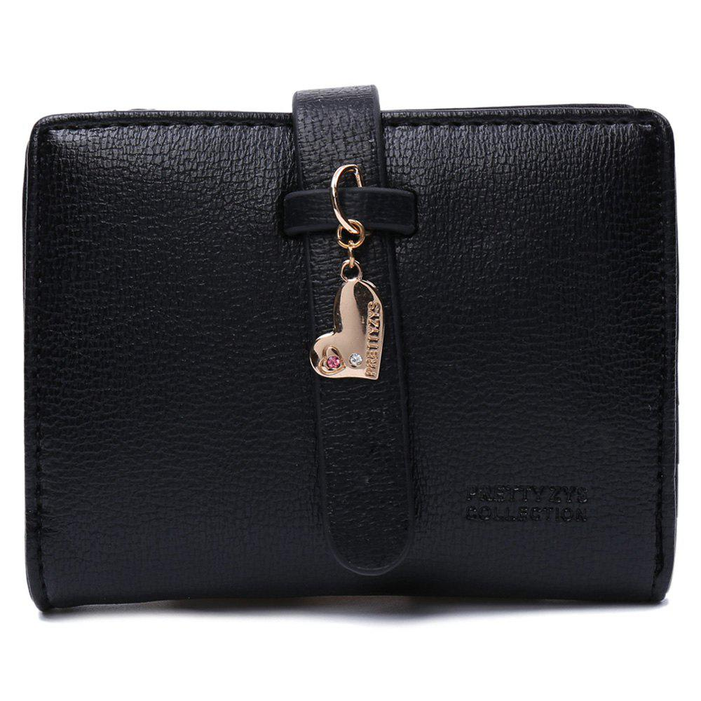 Cute Solid Colour and PU Leather Design Women's Wallet - BLACK