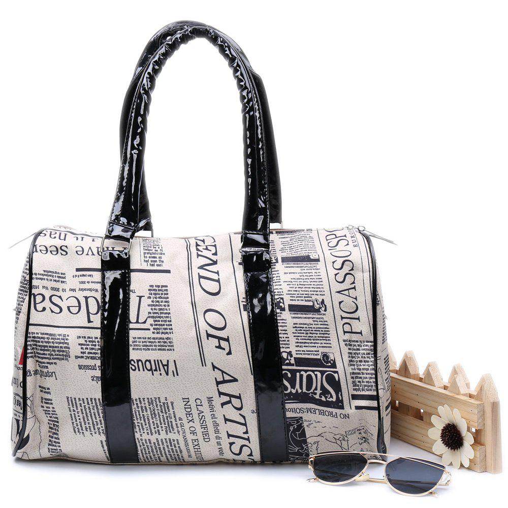 Casual Zipper Design and Newspaper Printing Handbag/Slanting Bag For Female - COLORMIX