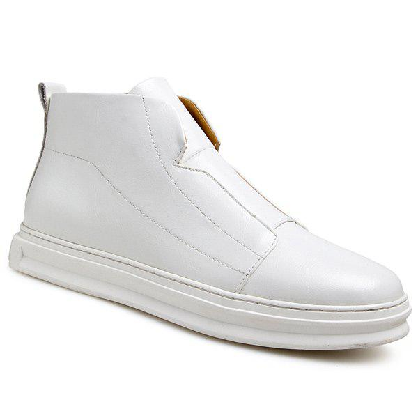 Stitching PU Leather Zipper Casual Shoes - WHITE 44