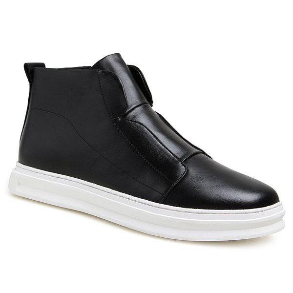 Stitching PU Leather Zipper Casual Shoes - BLACK 41