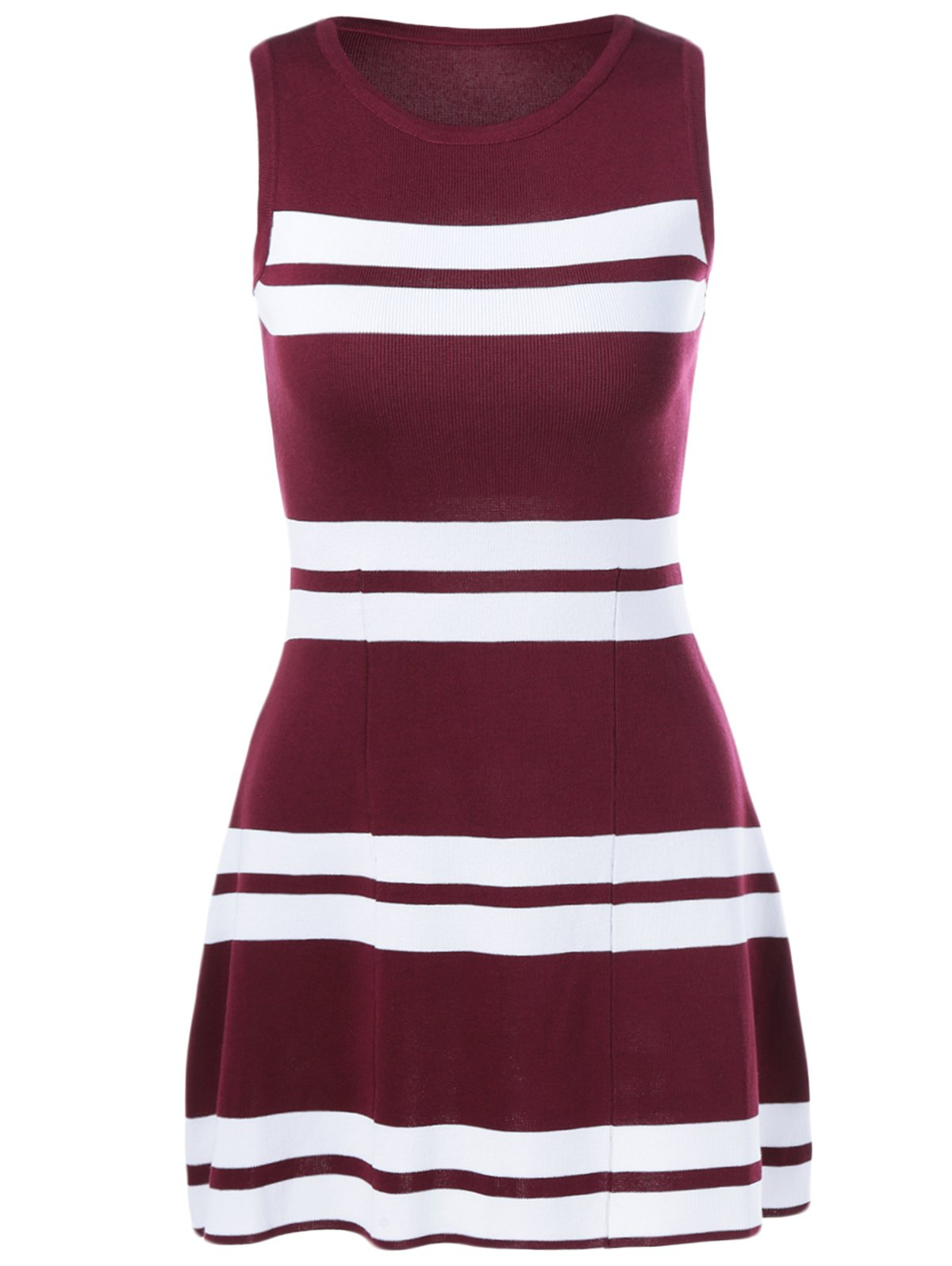 Color Block Knit Dress - WINE RED ONE SIZE