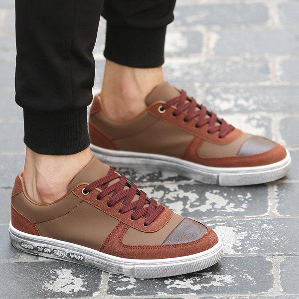 Tie Up PU Leather Splicing Casual Shoes - BROWN 40