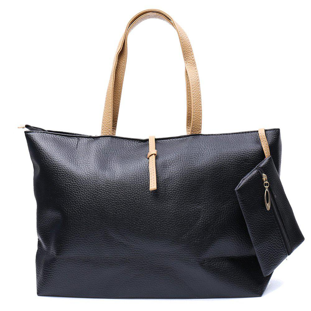New Arrival Color Matching and Small Wallet Design Shoulder Bag For Women - BLACK
