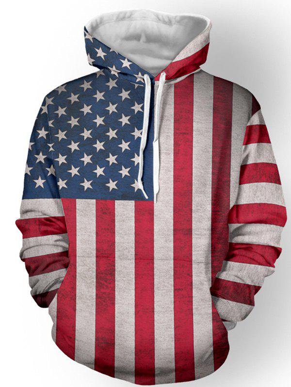 Pullover Distressed American Flag Print Hoodie - RED L