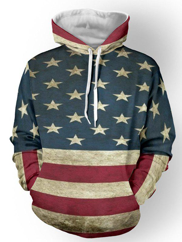Distressed American Flag Color Panel Pullover Hoodie - DEEP BLUE M