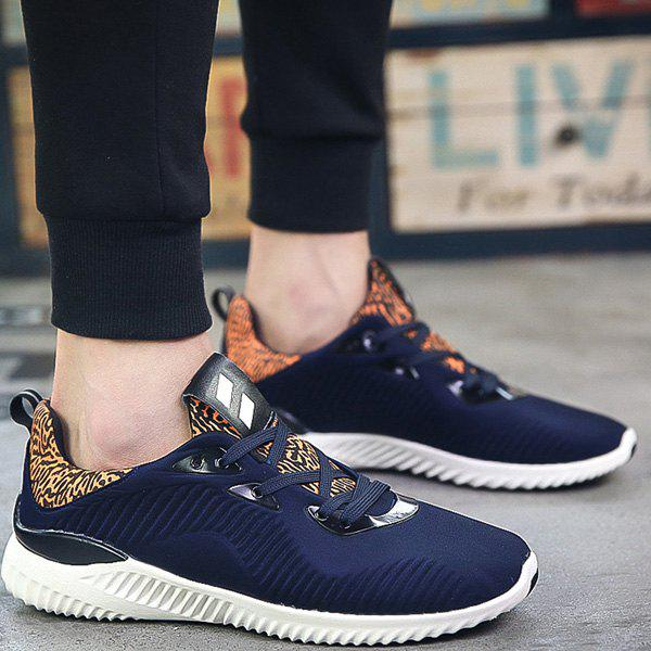 Leopard Print Stretch Fabric Athletic Shoes - DEEP BLUE 42