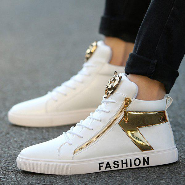 Metal Color Splicing Zipper Casual Shoes - WHITE 41