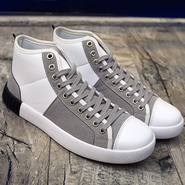 Suede Lace-Up Splicing Casual Shoes - GREY/WHITE 44