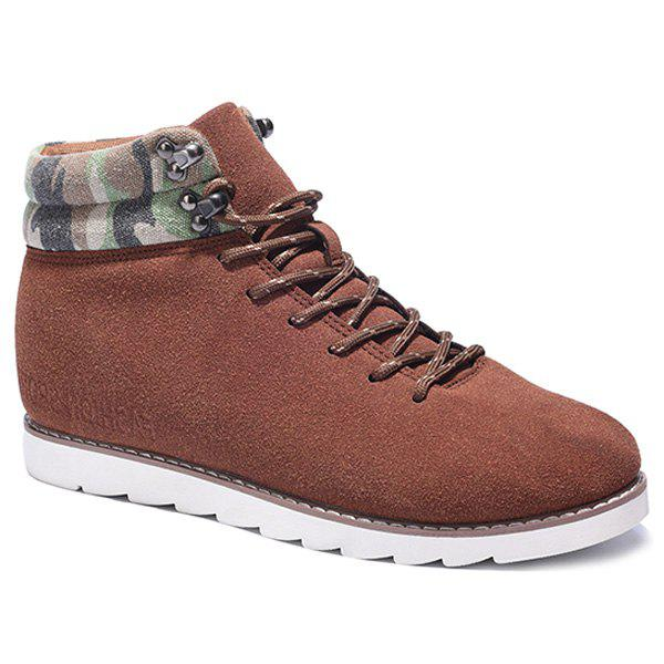 Lace-Up Metal Camouflage Pattern Casual Shoes - BROWN 41