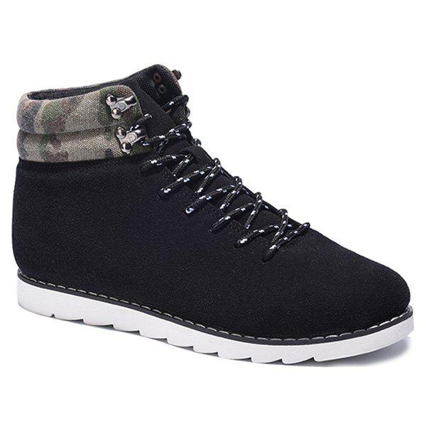 Lace-Up Metal Camouflage Pattern Casual Shoes - BLACK 42