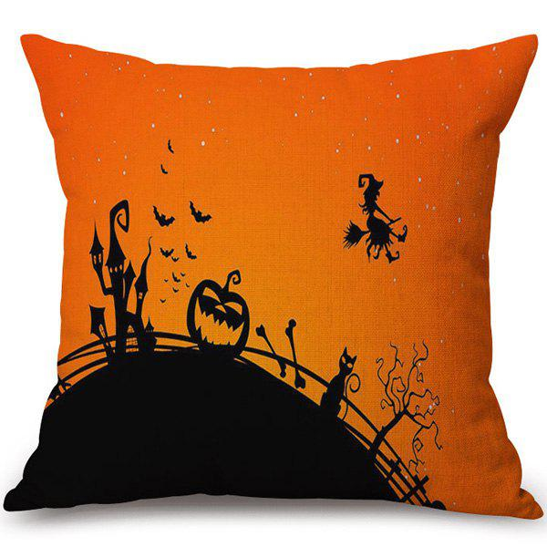 Decorative Soft Happy Halloween Witch Printed Pillow CaseHome<br><br><br>Color: COLORMIX