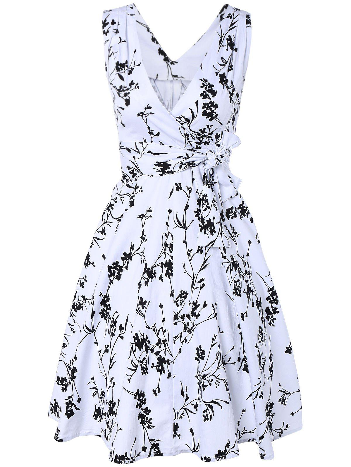 Surplice Tiny Floral Dress - WHITE 2XL