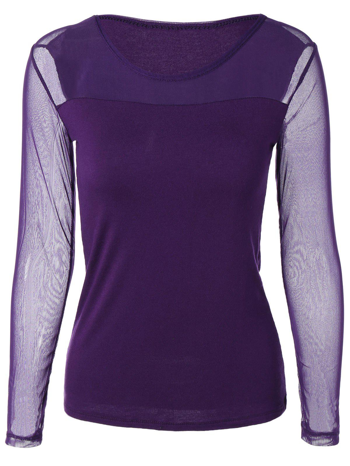 Scoop Neck Mesh-Insert Slimming T-shirt - Pourpre 5XL