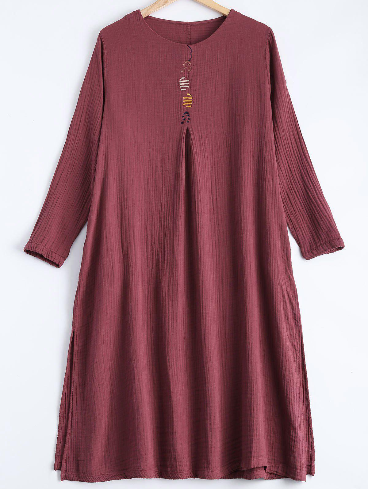 Embroidery Loose DressWomen<br><br><br>Size: ONE SIZE<br>Color: WINE RED