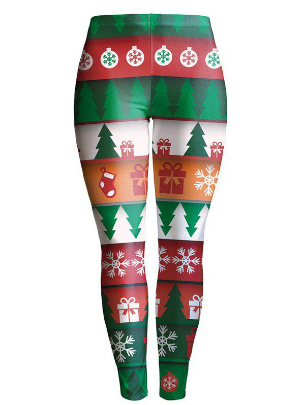 Christmas Tree Printed Stretchy LeggingsWomen<br><br><br>Size: XL<br>Color: GREEN