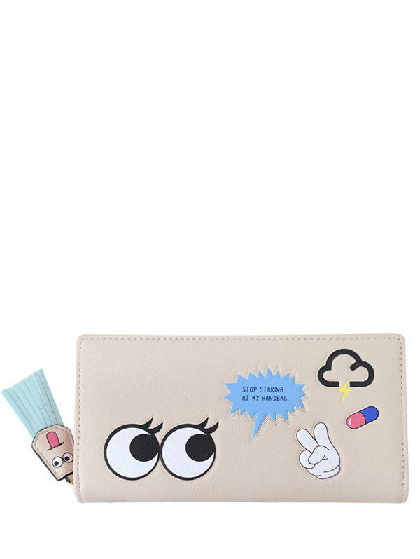 Cartoon Big Eyes PU Leather Clutch Wallet - LIGHT KHAKI
