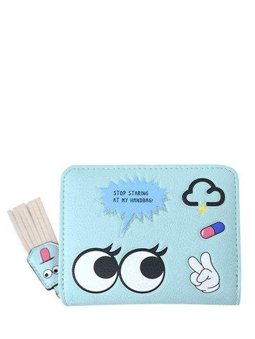 PU Leather Big Eyes Cartoon Small Wallet - GREEN