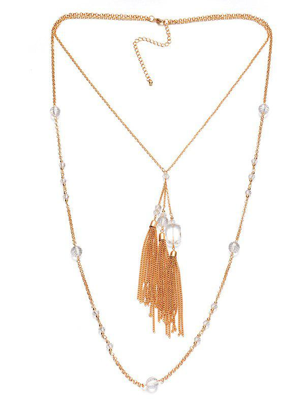 Faux Crystal Layered Fringe Bolo Sweater Chain - COPPER COLOR