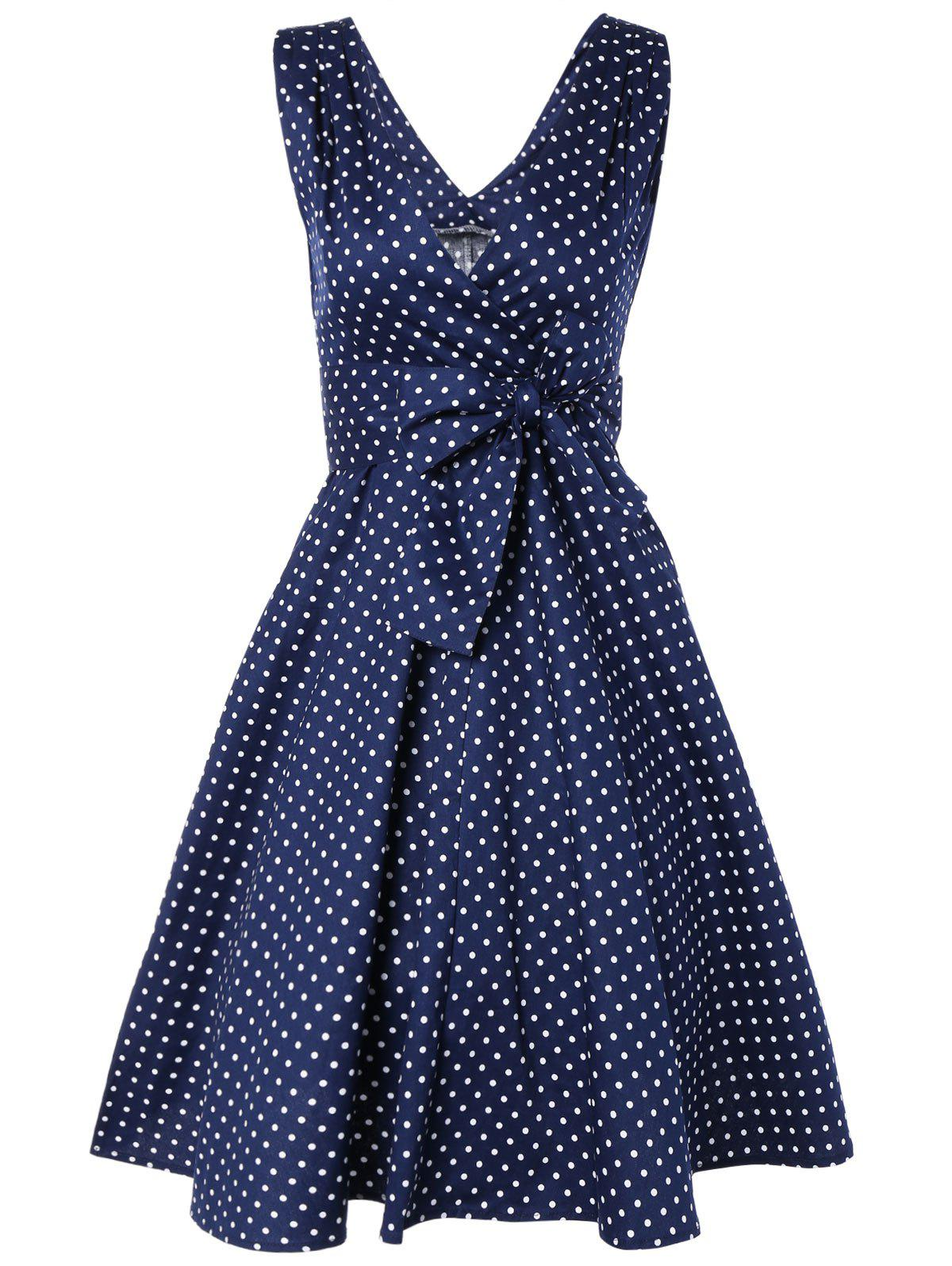 Bowknot Polka Dot Swing Fit and Flare Dress - NAVY BLUE M
