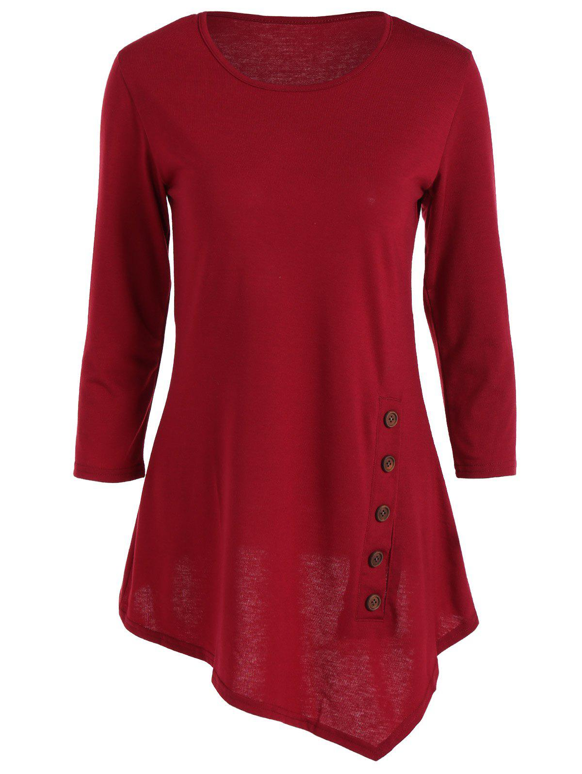 Pure Color Button Asymmetric Blouse - WINE RED XL