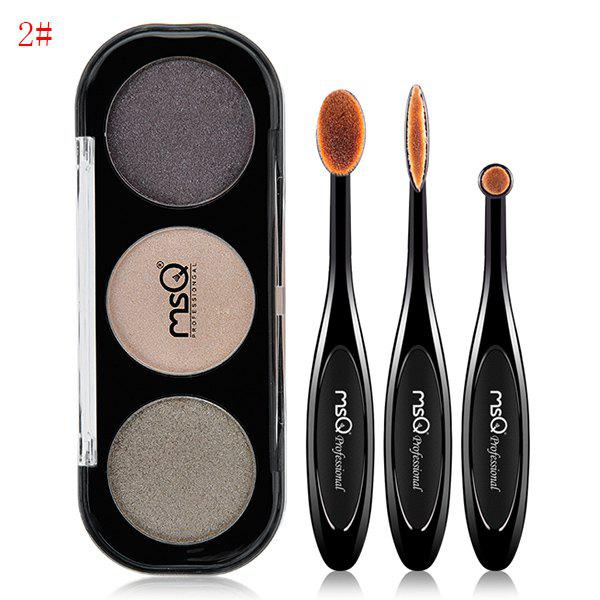 Eyeshadow Palette + 3 Pcs Toothbrush Shape Eyeshadow Brushes -