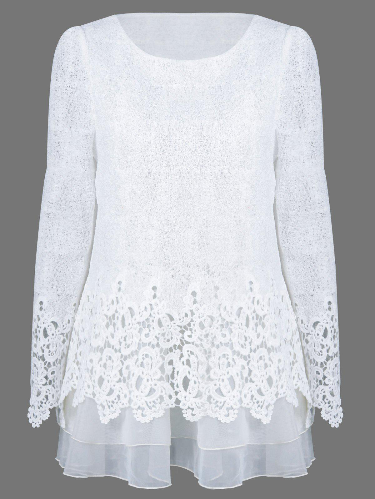 Mesh Patchwork Layered Lace Blouse - WHITE XL