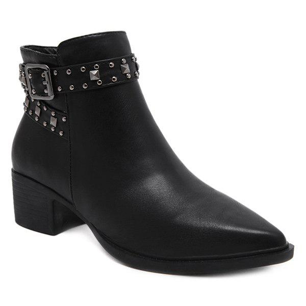 Buckle Strap Zipper Rivets Ankle BootsShoes<br><br><br>Size: 39<br>Color: BLACK