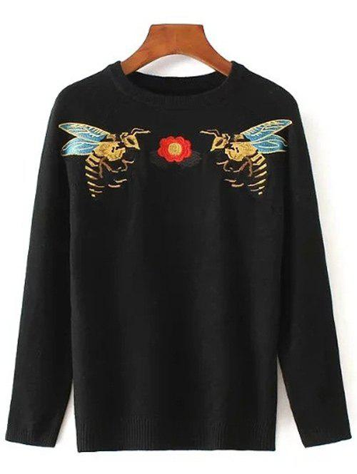 Bee Embroidered Stretchy Pullover Sweater - BLACK ONE SIZE