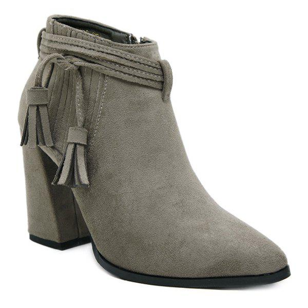Stitching Zipper Tassels Ankle Boots - GRAY 38