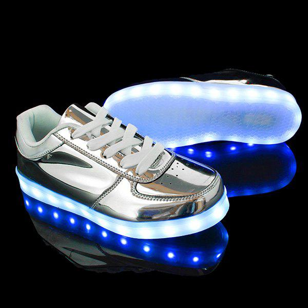 Lights Up Metallic Finish Led Luminous Casual Shoes - SILVER 40