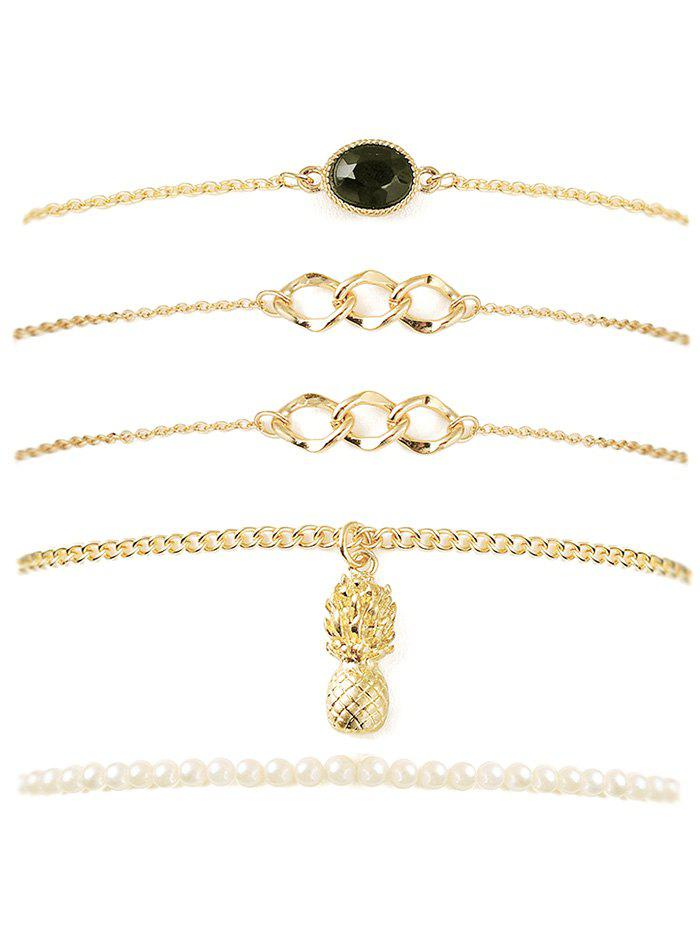 Faux Gem Pineapple Chain Bracelet Set - GOLDEN