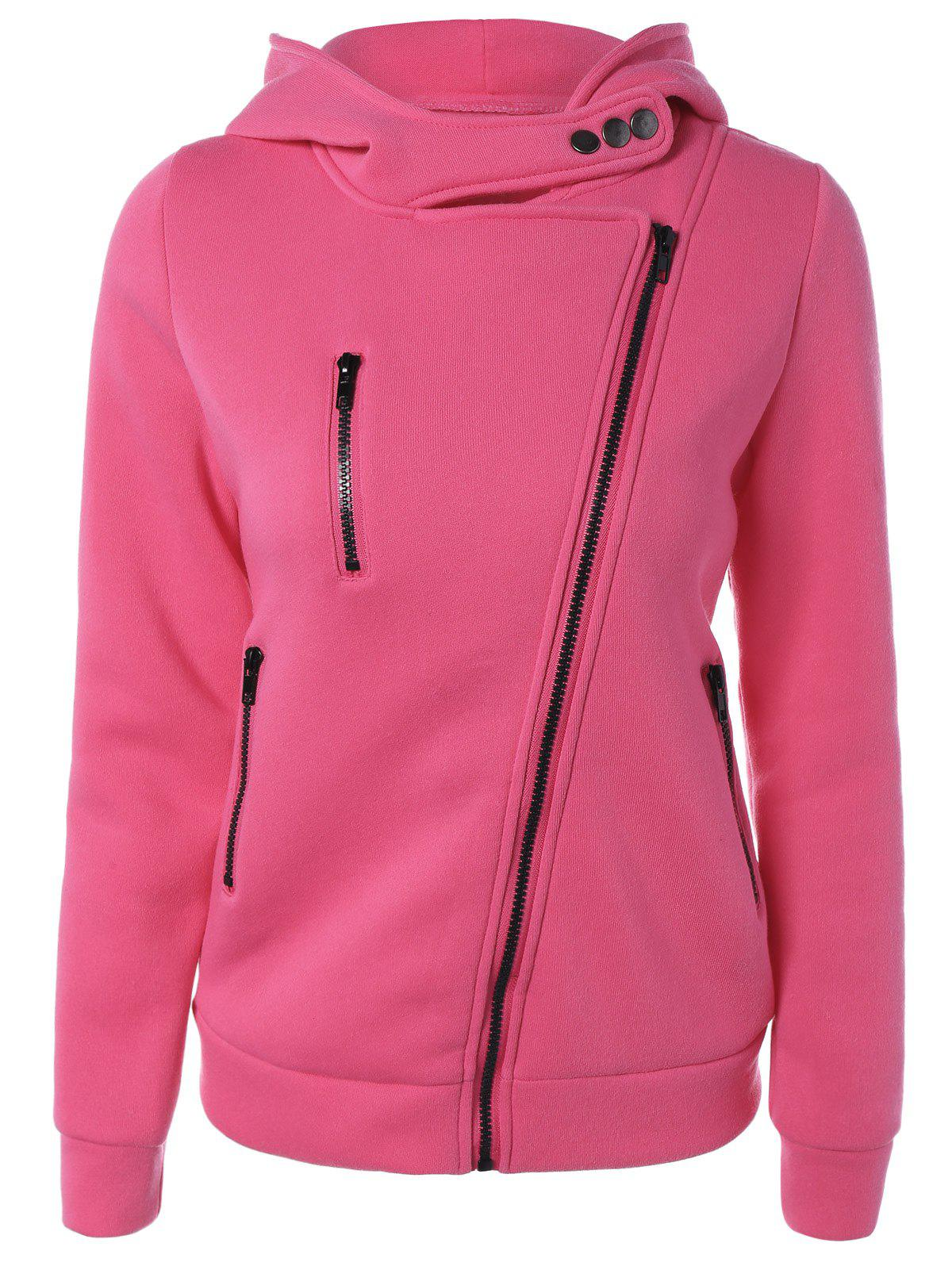 Inclined Zipper Buttoned Hoodie - ROSE MADDER S
