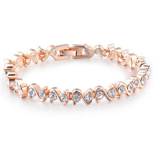 Fake Crystal Letter S Bracelet - ROSE GOLD