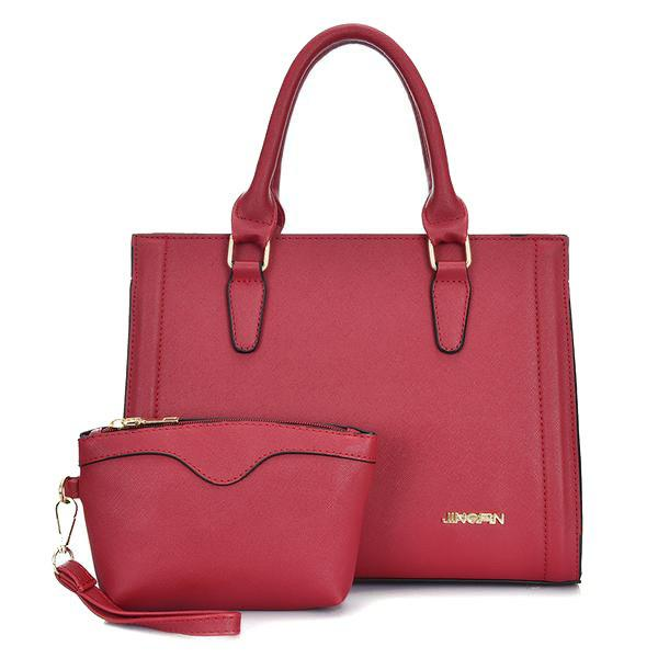 PU Leather Metal Stitching Tote Bag - RED