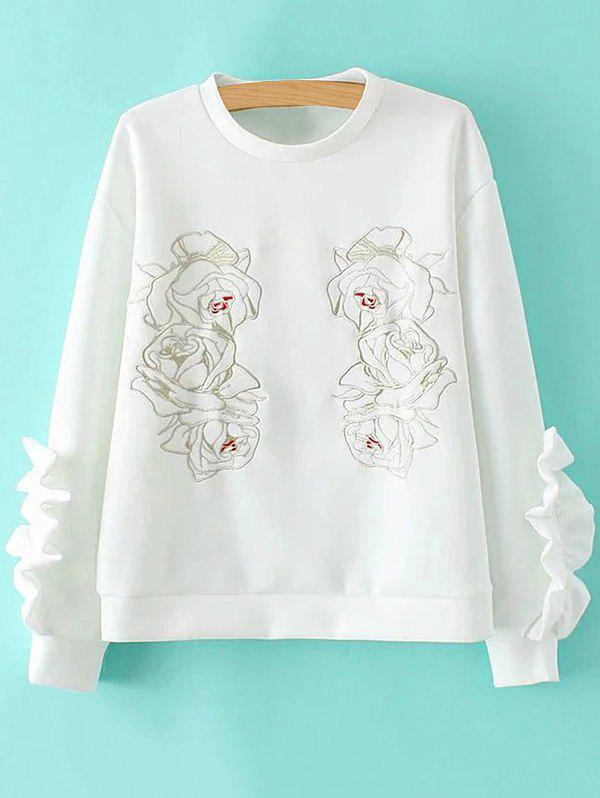 Embroidered Ruffles Splicing Sweatshirt - WHITE M