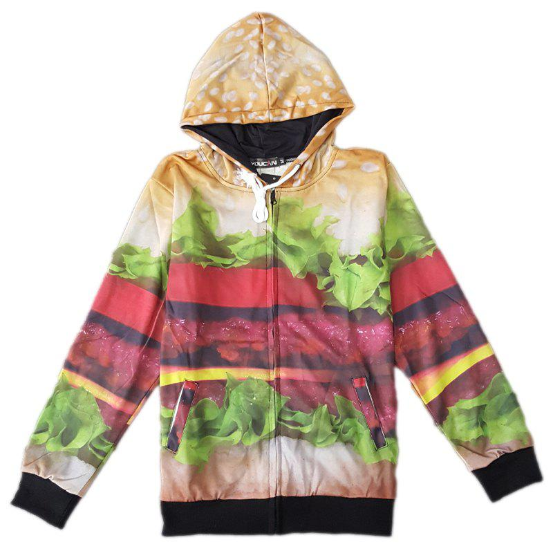Fitted Fashion Hooded 3D Hamburger Pattern Long Sleeve Men's Cotton Blend Hoodie - COLORMIX M