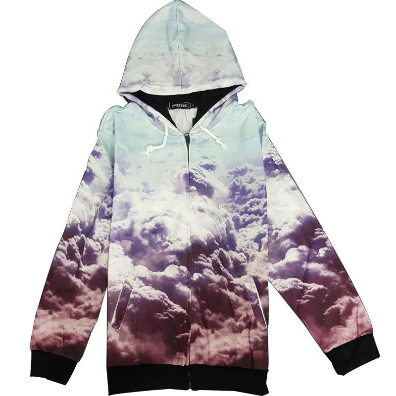 Fitted Stylish Hooded 3D Clouds Pattern Long Sleeve Men's Cotton Blend Hoodie - COLORMIX M