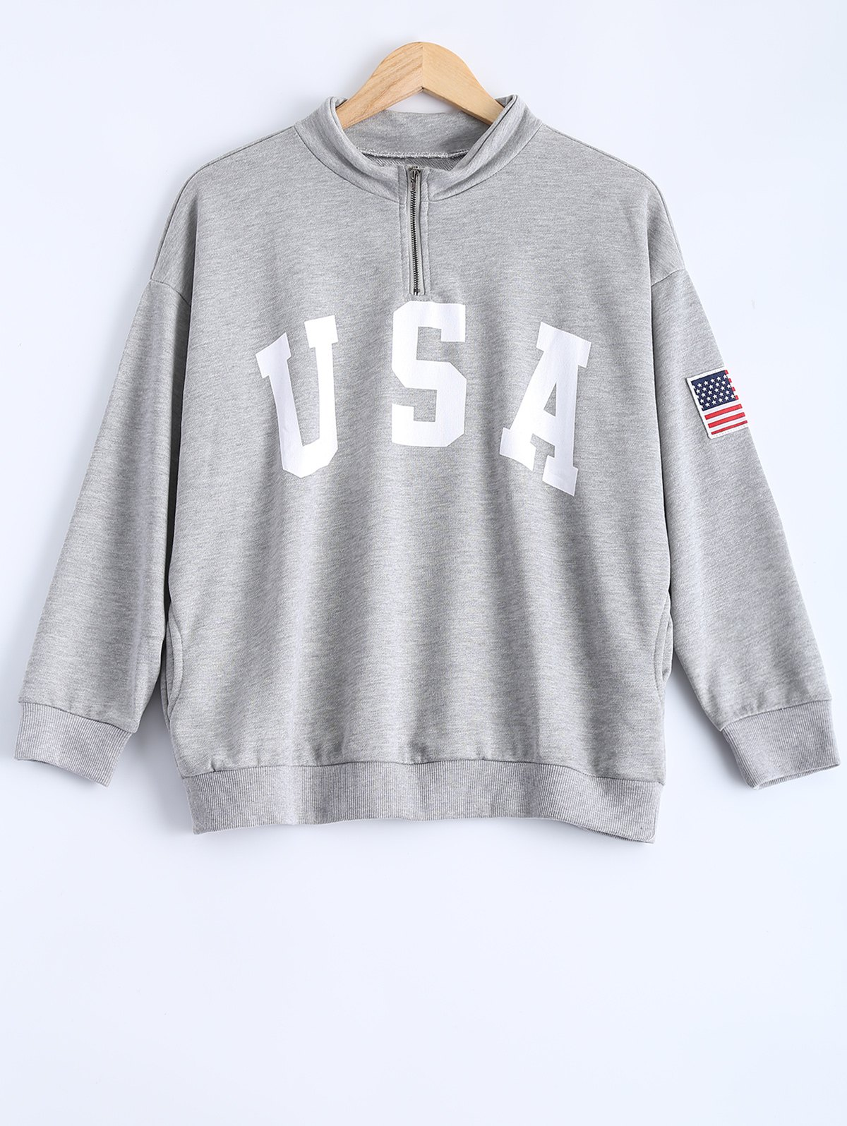 Loose Letter and Flag Applique Zipper Sweatshirt cut and sew letter embroidered applique tee