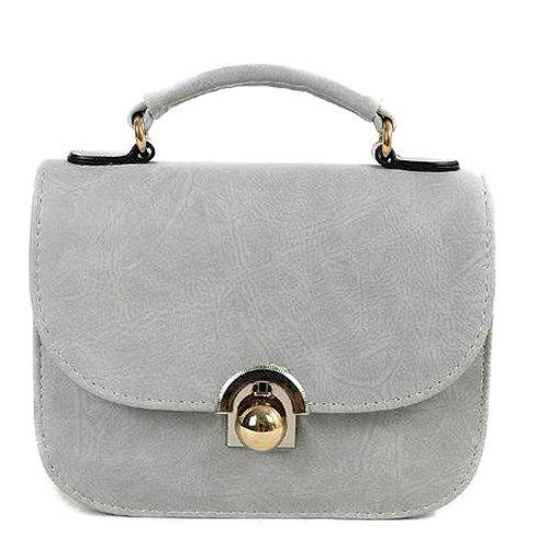 Metal PU Leather Covered Closure Crossbody BagBags<br><br><br>Color: LIGHT GRAY