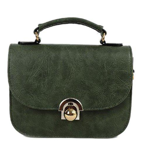 Metal PU Leather Covered Closure Crossbody Bag - ARMY GREEN