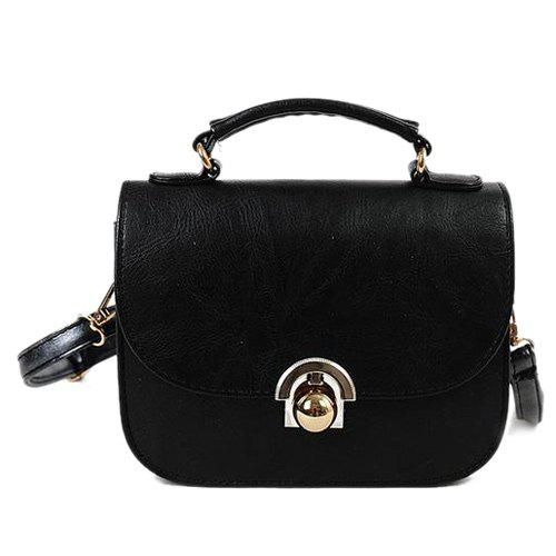 Metal PU Leather Covered Closure Crossbody Bag - BLACK