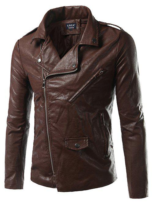 Turn-Down Collar Zip-Up Epaulet Design PU-Leather Jacket pu leather and corduroy spliced zip up down jacket
