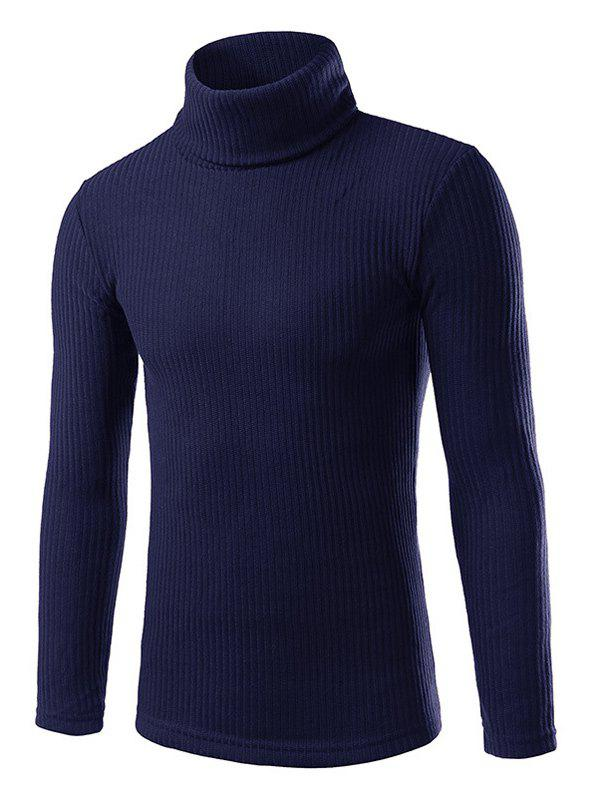 Turtle Neck Long Sleeve Slimming Knitting Sweater - CADETBLUE M