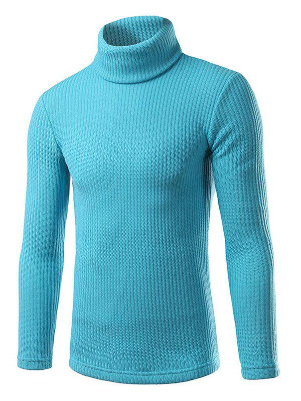 Turtle Neck Long Sleeve Slimming Knitting Sweater - AZURE XL
