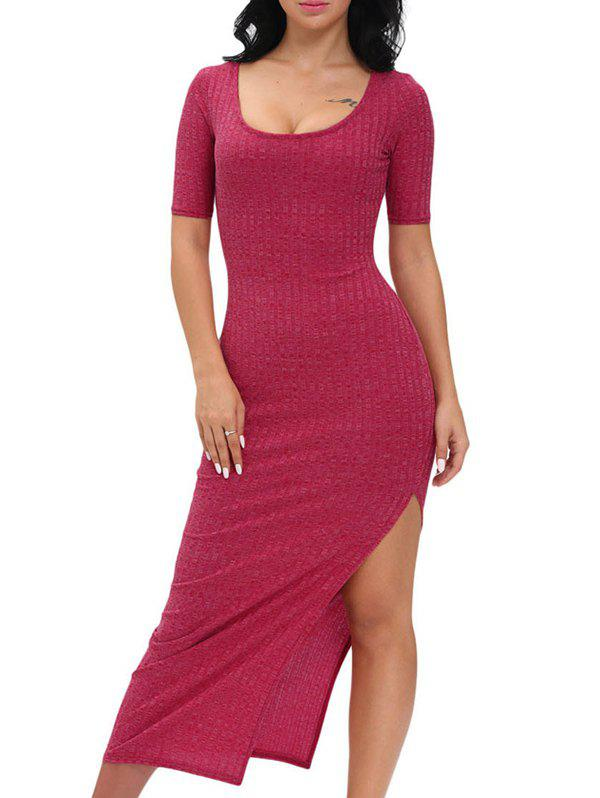 Scoop Neck Side Slit Jersey Maxi Dress drawstring cocoon jersey maxi dress