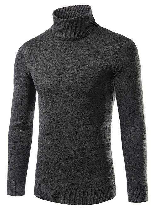 Turtle Neck Long Sleeve Slimming Sweater - DEEP GRAY L