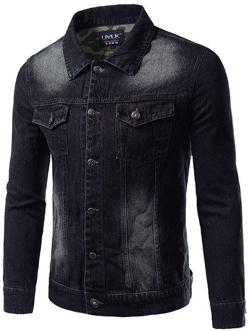 Turn-Down Collar Pockets Design Bleach Wash Denim Jacket цены онлайн